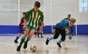 18 August 2019; Patrick Moran of Killoe, Co Longford in action against James Linnane of Caherdavin, Co Limerick in the U15 Futsal final during Day 2 of the Aldi Community Games August Festival, which saw over 3,000 children take part in a fun-filled weekend at UL Sports Arena in University of Limerick, Limerick. Photo by David Fitzgerald/Sportsfile