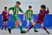 18 August 2019; Patrick Moran of Killoe, Co Longford in action against Simon Fitzgerald of Caherdavin, Co Limerick in the U15 Futsal final during Day 2 of the Aldi Community Games August Festival, which saw over 3,000 children take part in a fun-filled weekend at UL Sports Arena in University of Limerick, Limerick. Photo by David Fitzgerald/Sportsfile