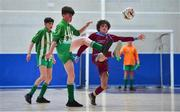 18 August 2019; Davide Moorehead of Killoe, Co Longford in action against Simon Fitzgerald of Caherdavin, Co Limerick in the U15 Futsal final during Day 2 of the Aldi Community Games August Festival, which saw over 3,000 children take part in a fun-filled weekend at UL Sports Arena in University of Limerick, Limerick. Photo by David Fitzgerald/Sportsfile