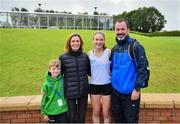 18 August 2019; Cara Laverty of Steelstown, Co Derry, with family members, from left, brother Ruaidhri, mother Pauline and father Sean after she won the girls U16 1500m during Day 2 of the Aldi Community Games August Festival, which saw over 3,000 children take part in a fun-filled weekend at UL Sports Arena in University of Limerick, Limerick. Photo by David Fitzgerald/Sportsfile