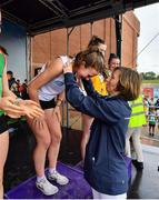 18 August 2019; Olympian and Community Games Ambassador Olive Loughnane presents the gold medal to Cara Laverty of Steelstown, Co Derry after she won the girls U16 1500m during Day 2 of the Aldi Community Games August Festival, which saw over 3,000 children take part in a fun-filled weekend at UL Sports Arena in University of Limerick, Limerick. Photo by David Fitzgerald/Sportsfile