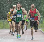 18 August 2019; Cathal McLaughlin, left, from Derry Track Club who won the mens over 50 800m from third place John O'Gorman, right, from Kilmurray/Ibrick/N.Clare A.C. during the Irish Life Health National Masters Track and Field Championships at Tullamore Harriers Stadium in Tullamore, Co Offaly. Photo by Matt Browne/Sportsfile