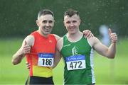 18 August 2019; Glen Scullion, left, from Mid Ulster A.C. who won the mens over 40's 200m and Ruaidhri Kedney from Menapians A.C. Co Wexford who won the mens over 35's 200m during the Irish Life Health National Masters Track and Field Championships at Tullamore Harriers Stadium in Tullamore, Co Offaly. Photo by Matt Browne/Sportsfile
