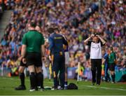 18 August 2019; Kilkenny manager Brian Cody after Richie Hogan of Kilkenny fouls Cathal Barrett of Tipperary during the GAA Hurling All-Ireland Senior Championship Final match between Kilkenny and Tipperary at Croke Park in Dublin. Photo by Eóin Noonan/Sportsfile