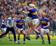 18 August 2019; Tipperary players Padraic Maher and Séamus Kennedy celebrate at the final whistle after the GAA Hurling All-Ireland Senior Championship Final match between Kilkenny and Tipperary at Croke Park in Dublin. Photo by Brendan Moran/Sportsfile