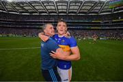 18 August 2019; Tipperary manager Liam Sheedy celebrates with Ronan Maher of Tipperary after the GAA Hurling All-Ireland Senior Championship Final match between Kilkenny and Tipperary at Croke Park in Dublin. Photo by Stephen McCarthy/Sportsfile