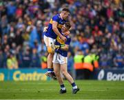 18 August 2019; Ronan Maher of Tipperary celebrates with Jake Morris of Tipperary after the GAA Hurling All-Ireland Senior Championship Final match between Kilkenny and Tipperary at Croke Park in Dublin. Photo by Eóin Noonan/Sportsfile