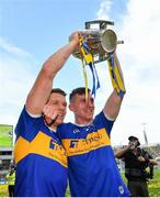 18 August 2019; Padraic Maher, left, and Séamus Kennedy of Tipperary with the Liam MacCarthy cup following the GAA Hurling All-Ireland Senior Championship Final match between Kilkenny and Tipperary at Croke Park in Dublin. Photo by Seb Daly/Sportsfile