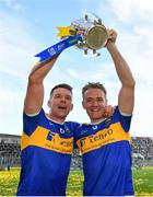 18 August 2019; Padraic Maher, left, and Noel McGrath of Tipperary with the Liam MacCarthy cup following the GAA Hurling All-Ireland Senior Championship Final match between Kilkenny and Tipperary at Croke Park in Dublin. Photo by Seb Daly/Sportsfile
