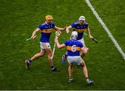18 August 2019; Tipperary players, left to right, Ronan Maher, Padraic Maher, and Séamus Kennedy celebrate after the GAA Hurling All-Ireland Senior Championship Final match between Kilkenny and Tipperary at Croke Park in Dublin. Photo by Daire Brennan/Sportsfile