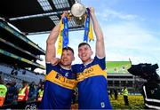 18 August 2019; Padraic Maher, left with, Séamus Kennedy of Tipperary with the Liam MacCarthy cup following the GAA Hurling All-Ireland Senior Championship Final match between Kilkenny and Tipperary at Croke Park in Dublin. Photo by Stephen McCarthy/Sportsfile