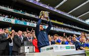 18 August 2019; Injured Tipperary hurler Patrick 'Bonner' Maher lifts the Liam MacCarthy Cup after the GAA Hurling All-Ireland Senior Championship Final match between Kilkenny and Tipperary at Croke Park in Dublin. Photo by Ray McManus/Sportsfile