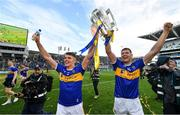 18 August 2019; Ronan Maher, left, and Séamus Callanan of Tipperary with the Liam MacCarthy cup following the GAA Hurling All-Ireland Senior Championship Final match between Kilkenny and Tipperary at Croke Park in Dublin. Photo by Seb Daly/Sportsfile