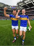 18 August 2019; James Barry, left, and Noel McGrath of Tipperary celebrate following their side's victory during the GAA Hurling All-Ireland Senior Championship Final match between Kilkenny and Tipperary at Croke Park in Dublin. Photo by Seb Daly/Sportsfile