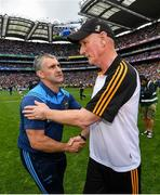 18 August 2019; Tipperary manager Liam Sheedy, left, shakes hands with Kilkenny manager Brian Cody following the GAA Hurling All-Ireland Senior Championship Final match between Kilkenny and Tipperary at Croke Park in Dublin. Photo by Seb Daly/Sportsfile