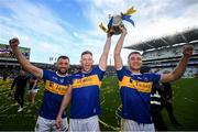 18 August 2019; Tipperary team mates, from left, James Barry, Michael Breen and John McGrath with the Liam MacCarthy cup following the GAA Hurling All-Ireland Senior Championship Final match between Kilkenny and Tipperary at Croke Park in Dublin. Photo by Stephen McCarthy/Sportsfile