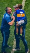 18 August 2019; Tipperary manager Liam Sheedy celebrates with team mentor Eoin Kelly and his son Conall, aged 7, after the GAA Hurling All-Ireland Senior Championship Final match between Kilkenny and Tipperary at Croke Park in Dublin. Photo by Daire Brennan/Sportsfile