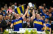 18 August 2019; Ronan Maher, left, and Padraic Maher of Tipperary lift the Liam MacCarthy cup during the GAA Hurling All-Ireland Senior Championship Final match between Kilkenny and Tipperary at Croke Park in Dublin. Photo by Sam Barnes/Sportsfile