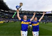 18 August 2019; John McGrath, left, and Cathal Barrett of Tipperary celebrate following the GAA Hurling All-Ireland Senior Championship Final match between Kilkenny and Tipperary at Croke Park in Dublin. Photo by Sam Barnes/Sportsfile