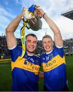 18 August 2019; John McGrath, left with, Brian McGrath of Tipperary celebrate with the Liam MacCarthy cup, after the GAA Hurling All-Ireland Senior Championship Final match between Kilkenny and Tipperary at Croke Park in Dublin. Photo by Stephen McCarthy/Sportsfile