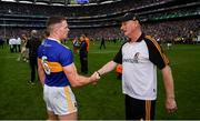 18 August 2019; Kilkenny manager Brian Cody right, shakes hands with Padraic Maher of Tipperary following the GAA Hurling All-Ireland Senior Championship Final match between Kilkenny and Tipperary at Croke Park in Dublin. Photo by Stephen McCarthy/Sportsfile