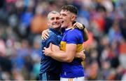 18 August 2019; Tipperary manager Liam Sheedy, left, celebrates with Ronan Maher of Tipperary after the final whistle of the GAA Hurling All-Ireland Senior Championship Final match between Kilkenny and Tipperary at Croke Park in Dublin. Photo by Brendan Moran/Sportsfile