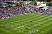 18 August 2019; The Kilkenny and Tipperary teams stand for the national anthem prior to the GAA Hurling All-Ireland Senior Championship Final match between Kilkenny and Tipperary at Croke Park in Dublin. Photo by Stephen McCarthy/Sportsfile
