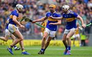 18 August 2019; Tipperary players, from left, Padraic Maher, Ronan Maher and Séamus Kennedy celebrate at the final whistle of the GAA Hurling All-Ireland Senior Championship Final match between Kilkenny and Tipperary at Croke Park in Dublin. Photo by Brendan Moran/Sportsfile