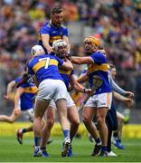 18 August 2019; Tipperary players, from left, Séamus Kennedy Padraic Maher, James Barry, and Ronan Maher celebrate at the final whistle of the GAA Hurling All-Ireland Senior Championship Final match between Kilkenny and Tipperary at Croke Park in Dublin. Photo by Brendan Moran/Sportsfile