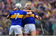 18 August 2019; Padraic Maher, right, and Séamus Kennedy celebrate at the final whistle of the GAA Hurling All-Ireland Senior Championship Final match between Kilkenny and Tipperary at Croke Park in Dublin. Photo by Brendan Moran/Sportsfile