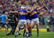 18 August 2019; Tipperary players, from left, Séamus Kennedy, Ronan Maher, Padraic Maher, and James Barry celebrate at the final whistle of the GAA Hurling All-Ireland Senior Championship Final match between Kilkenny and Tipperary at Croke Park in Dublin. Photo by Brendan Moran/Sportsfile