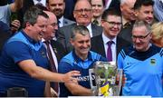18 August 2019; Tipperary manager Liam Sheedy, 2nd from left, and coaches Darragh Egan, left, and Eamon O'Shea celebrate with the Liam MacCarthy cup after the GAA Hurling All-Ireland Senior Championship Final match between Kilkenny and Tipperary at Croke Park in Dublin. Photo by Brendan Moran/Sportsfile
