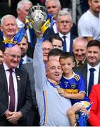 18 August 2019; Tipperary coach Eoin Kelly and his son Conal celebrate with the Liam MacCarthy cup after the GAA Hurling All-Ireland Senior Championship Final match between Kilkenny and Tipperary at Croke Park in Dublin. Photo by Brendan Moran/Sportsfile
