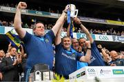 18 August 2019; Tipperary manager Liam Sheedy, 2nd from left, and coaches, from left, Darragh Egan, Eamon O'Shea and Tommy Dunne, celebrate with the Liam MacCarthy cup after the GAA Hurling All-Ireland Senior Championship Final match between Kilkenny and Tipperary at Croke Park in Dublin. Photo by Ray McManus/Sportsfile