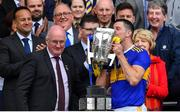 18 August 2019; Tipperary captain Séamus Callanan kisses the Liam MacCarthy cup after the GAA Hurling All-Ireland Senior Championship Final match between Kilkenny and Tipperary at Croke Park in Dublin. Photo by Brendan Moran/Sportsfile