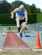 18 August 2019; Willie O'Toole from St. L. O'Toole A.C. Co Carlow who won the mens over 65 long jump during the Irish Life Health National Masters Track and Field Championships at Tullamore Harriers Stadium in Tullamore, Co Offaly. Photo by Matt Browne/Sportsfile