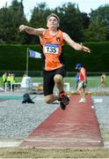 18 August 2019; George Gribben from Orangegrove A.C. Belfast who came third in the mens over 65 long jump during the Irish Life Health National Masters Track and Field Championships at Tullamore Harriers Stadium in Tullamore, Co Offaly. Photo by Matt Browne/Sportsfile