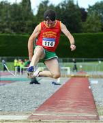 18 August 2019; Seamus Fox from Fanahan Mc Sweeney A.C. Co Cork who came second in the mens over 65 long jump during the Irish Life Health National Masters Track and Field Championships at Tullamore Harriers Stadium in Tullamore, Co Offaly. Photo by Matt Browne/Sportsfile