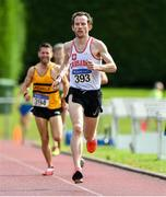 18 August 2019; Brian O'Kelly from Crusaders A.C. Co Dublin who won the mens over 35's 5000m during the Irish Life Health National Masters Track and Field Championships at Tullamore Harriers Stadium in Tullamore, Co Offaly. Photo by Matt Browne/Sportsfile