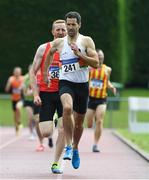 18 August 2019; Denis Coughlin from St. Finbarrs A.C. Co Cork who won the mens over 35's 800m during the Irish Life Health National Masters Track and Field Championships at Tullamore Harriers Stadium in Tullamore, Co Offaly. Photo by Matt Browne/Sportsfile