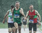 18 August 2019; Cathal McLaughlin, 461, from Derry Track Club who won the mens over 50 800m from second place Peter Smyth from Raheny Shamrocks A.C and third place John O'Gorman, right, from Kilmurray/Ibrick/N.Clare A.C. during the Irish Life Health National Masters Track and Field Championships at Tullamore Harriers Stadium in Tullamore, Co Offaly. Photo by Matt Browne/Sportsfile