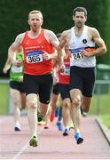 18 August 2019; Denis Coughlin,right, from St. Finbarrs A.C. Co Cork on his way to winning the mens over 35's 800m and left Kieran McGrath from Drogheda & District A.C on his way to winning the over 40's 800m during the Irish Life Health National Masters Track and Field Championships at Tullamore Harriers Stadium in Tullamore, Co Offaly. Photo by Matt Browne/Sportsfile