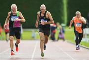 18 August 2019; Hugh McSweeney from Eagle A.C Co Cork competing in the over 70's 200m during the Irish Life Health National Masters Track and Field Championships at Tullamore Harriers Stadium in Tullamore, Co Offaly. Photo by Matt Browne/Sportsfile