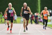 18 August 2019; Hugh McSweeney from Eagle A.C Co Cork and Tom Clinton from Navan A.C Co Meath competing in the mens over 70's 200m during the Irish Life Health National Masters Track and Field Championships at Tullamore Harriers Stadium in Tullamore, Co Offaly. Photo by Matt Browne/Sportsfile