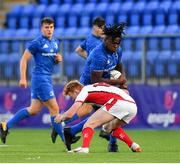 17 August 2019; Sam Illo of Leinster is tackled by Luke Pollock of Ulster during the U19 Interprovincial Rugby Championship match between Leinster and Ulster at Energia Park in Donnybrook, Dublin. Photo by Seb Daly/Sportsfile