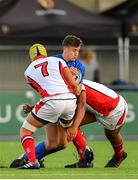 17 August 2019; Tim Corkery of Leinster is tackled by Reuben Crothers and George Saunderdon of Ulster during the U19 Interprovincial Rugby Championship match between Leinster and Ulster at Energia Park in Donnybrook, Dublin. Photo by Seb Daly/Sportsfile