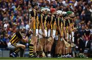 18 August 2019; TJ Reid of Kilkenny squats behind his team-mates ahead of the GAA Hurling All-Ireland Senior Championship Final match between Kilkenny and Tipperary at Croke Park in Dublin. Photo by Sam Barnes/Sportsfile
