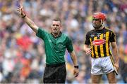 18 August 2019; Referee James Owens and Cillian Buckley of Kilkenny during the GAA Hurling All-Ireland Senior Championship Final match between Kilkenny and Tipperary at Croke Park in Dublin. Photo by Piaras Ó Mídheach/Sportsfile