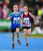 17 August 2019; Bobby Jackson of Cuchulainns, Co. Cavan, competing in the Boys' U10 200m Heats during Day 1 of the Aldi Community Games August Festival, which saw over 3,000 children take part in a fun-filled weekend at UL Sports Arena in University of Limerick, Limerick. Photo by Ben McShane/Sportsfile