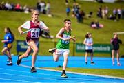 17 August 2019; Elisha McCauley, left, of Kinnegad-Coralstown, Co. Westmeath, and Daire O'Connor of Ballina, Co. Mayo, competing in the Mixed U13 Relays during Day 1 of the Aldi Community Games August Festival, which saw over 3,000 children take part in a fun-filled weekend at UL Sports Arena in University of Limerick, Limerick. Photo by Ben McShane/Sportsfile